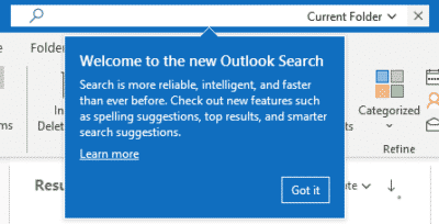 New Outlook Search Bar